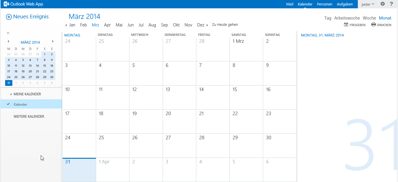 Outlook Web App - Kalender