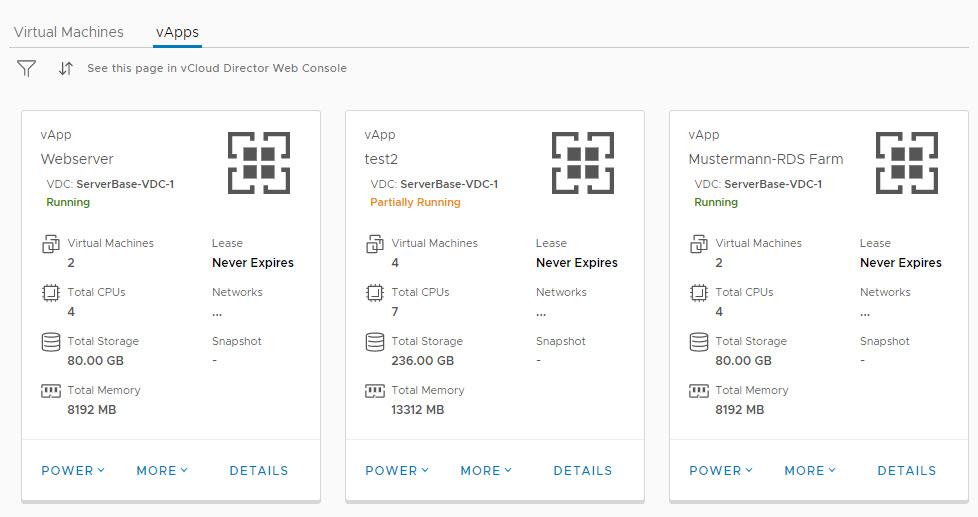 Screenshot von Virtual Datacenter mit vApps als logische Container für mehrere VMs
