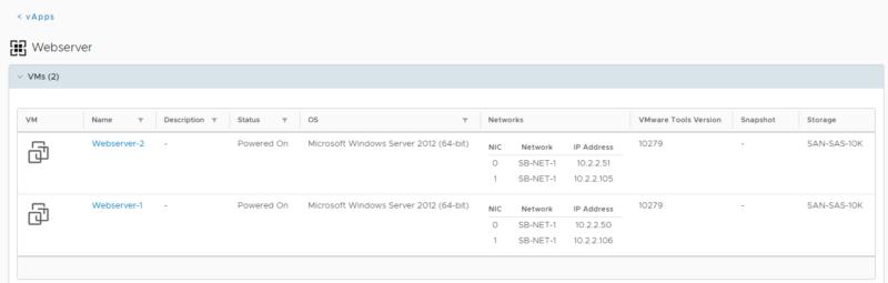 Zuweisung von virtuellen Servern (Services) zu verschiedenen vApps (Rollen)
