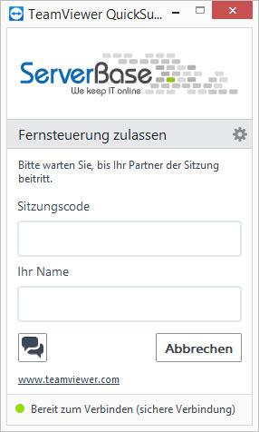 ServerBase Teamviewer ohne ID