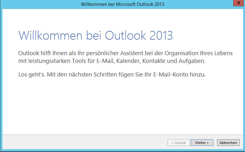Starten von Outlook 2013 (oder älter)