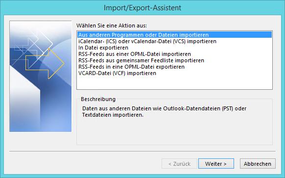 Aus Daten importieren