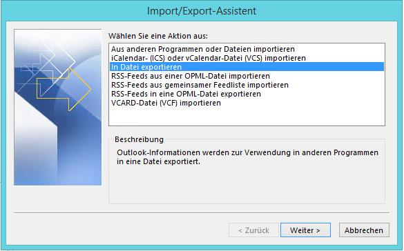Posteingang in Datei exportieren