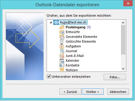 Mailexport in Datendatei (.pst)