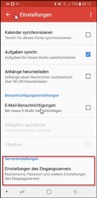 Android: Neues Mailpasswort in bestehende Konfiguration einlesen