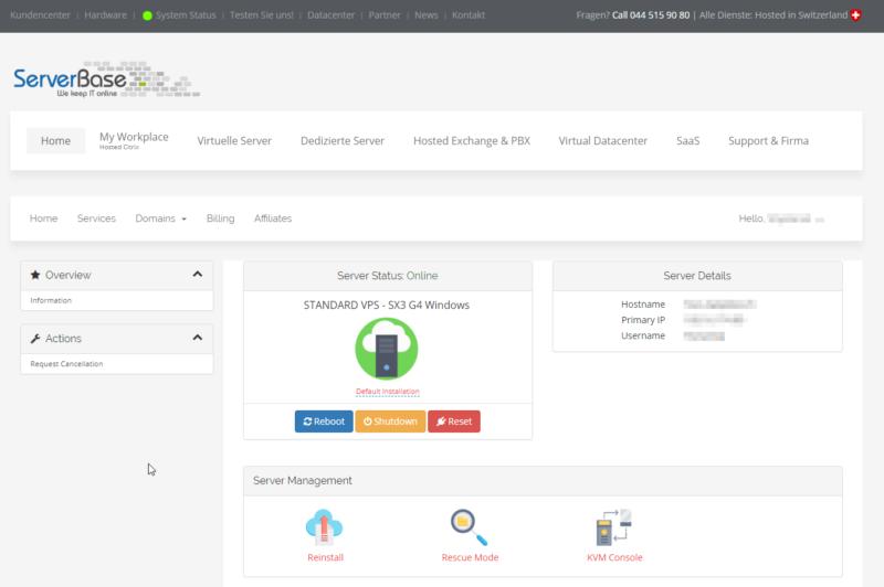 Standard VPS Verwalten: Kundencenter