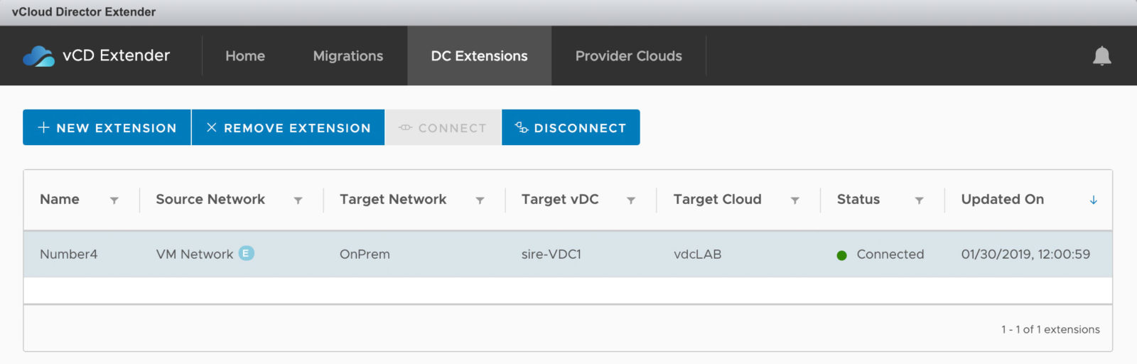 Konfiguration der Datacenter Extension als Layer-2 VPN in vCloud Extender