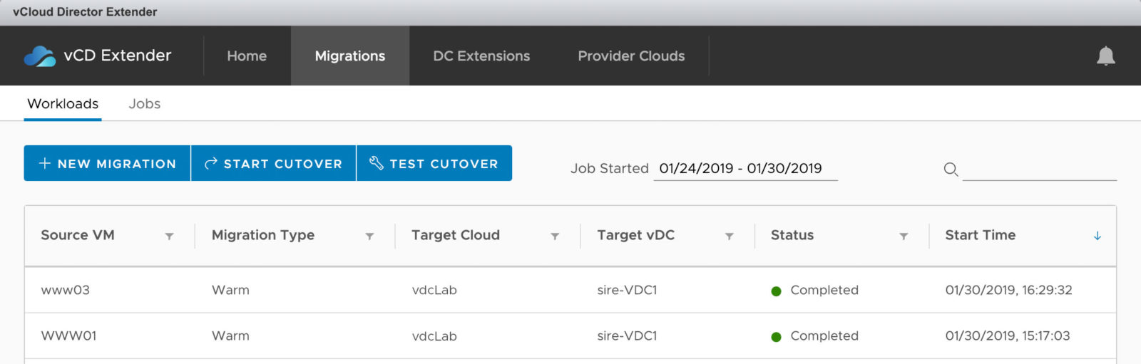 Migration-Job Übersicht in vCloud Extender