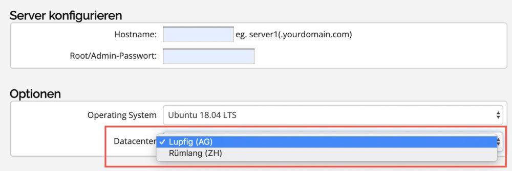 Order Standard VPS in Datacenter Lupfig