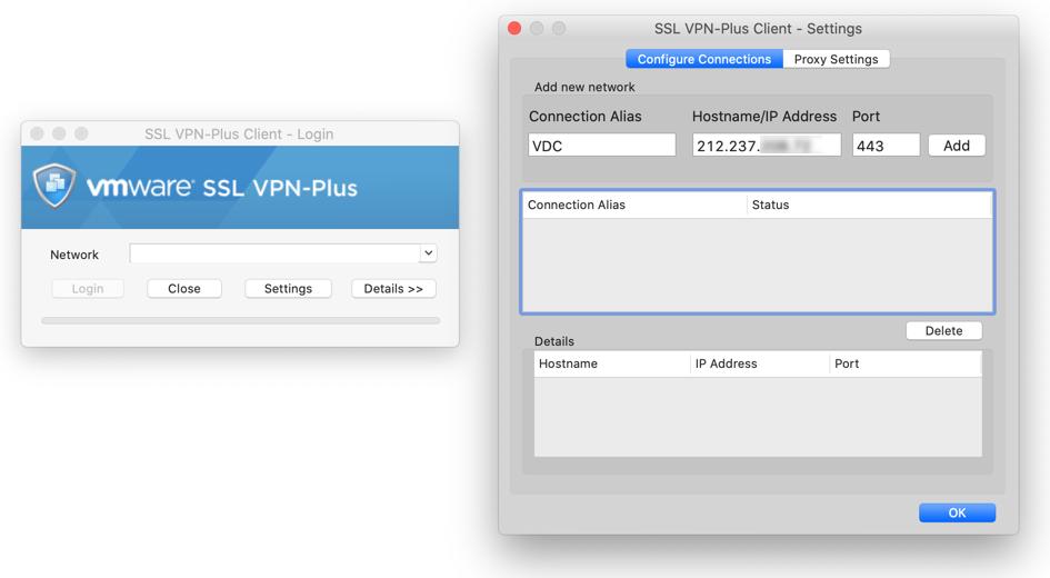Eine neue VPN Verbindung hinzufügen in VMware SSL VPN Plus Client für Mac Catalina