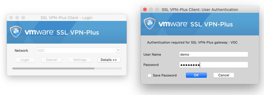 VPN Verbindung herstellen in VMware SSL VPN Plus Client für Mac Catalina