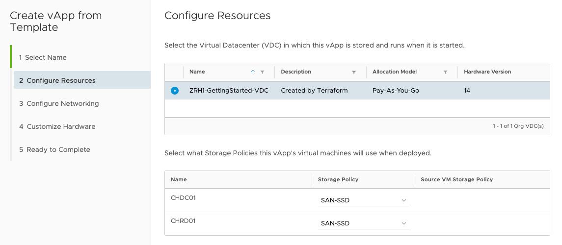 Wählen Sie im nächsten Schritt Ihr VDC und die entsprechende Storage Policy (HDD oder SSD) für die beiden VMs aus.