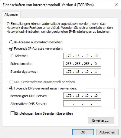 Oftmals wird leider die vorhin definierte IP-Konfiguration nicht korrekt in Windows übernommen. Prüfen Sie dies und passen Sie sie gegebenenfalls an.