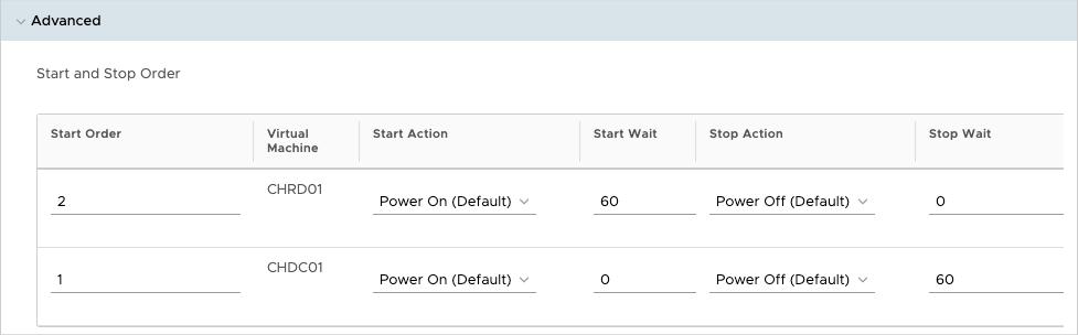Kehren Sie zurück zu den Details der vApp und legen Sie die Start- und Stop-Reihenfolge für die beiden VMs so fest, dass der Domänencontroller zuerst startet und erst 60 Sekunden später der RDS Session Host.