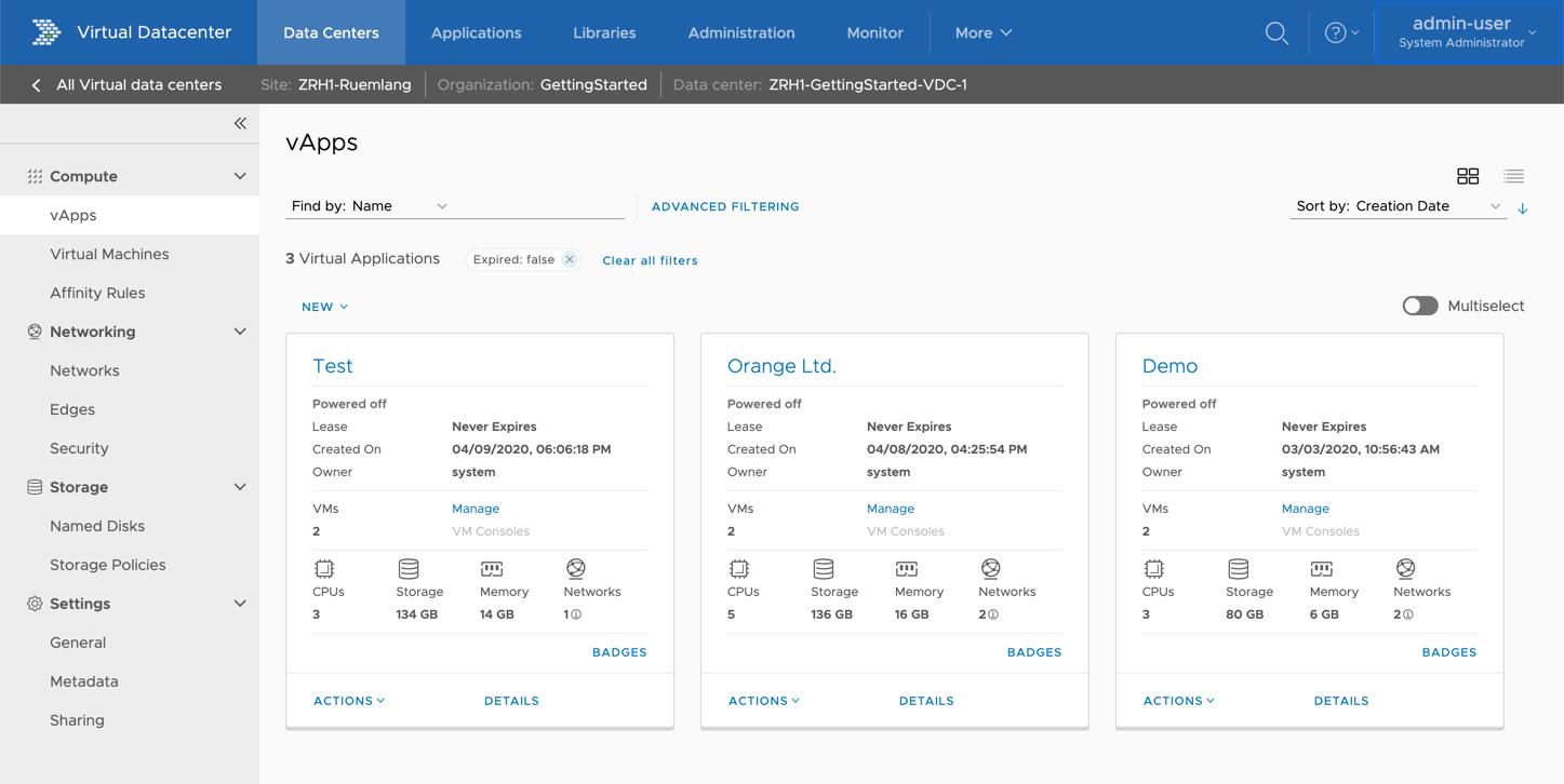 VMware Cloud Director 10.1: Das Hamburger-Menü wurde durch ein horizontales Menü ersetzt, dass den schnelleren Zugriff auf alle wichtigen Funktionen gewährleistet.