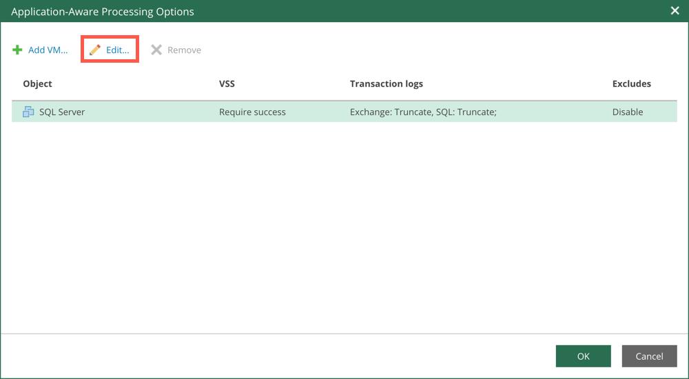 """Fügen Sie die VMs mit SQL, Oracle oder Exchange Datenbanken hinzu und wählen Sie für jede VM """"Edit"""""""