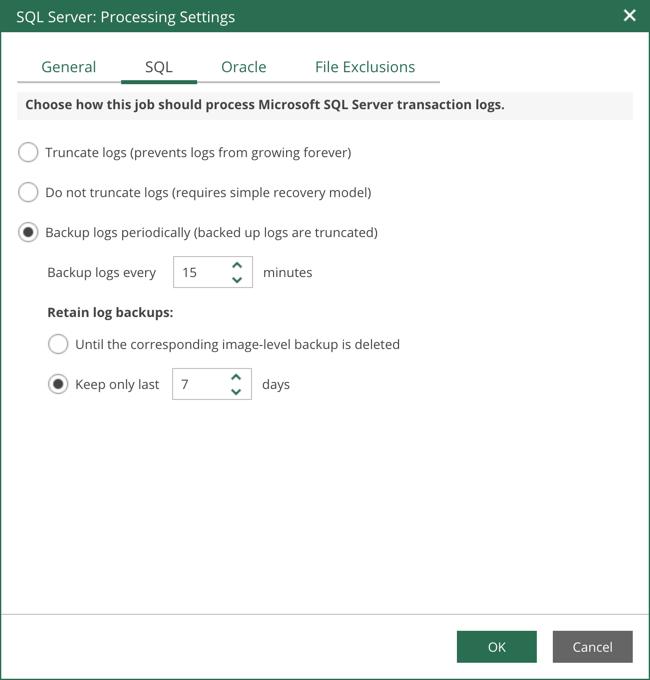 Beispielsweise für Microsoft SQL definieren Sie, wie mit den Transaktion-Logs nach erfolgtem Backup umgegangen wird und ob diese in einem kurzen Intervall gesichert werden sollen.