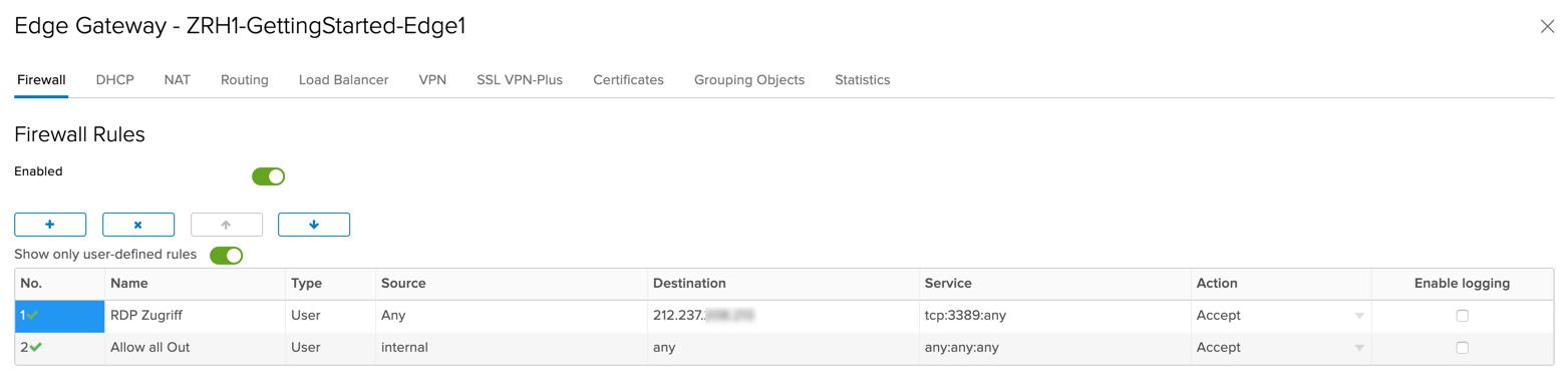 Erstellen Sie eine Firewall-Regel, die Traffic für den RDP Port auf die WAN-IP erlaubt.