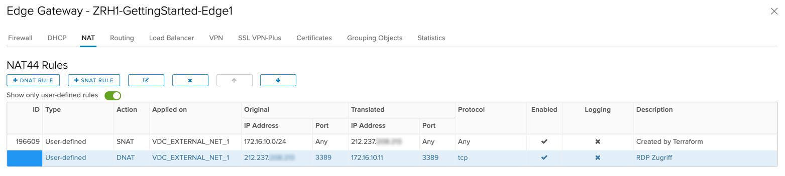 Hierbei wird direkt der RDP-Port TCP 3389 im Internet geöffnet und mittels NAT auf die interne IP des RDS Session Hosts weitergeleitet.