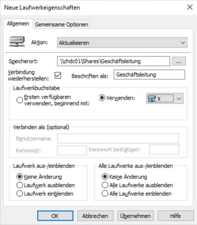 Anschliessend können Sie in der GPO RDS Laufwerkmapping unterBenutzerkonfiguration > Einstellungen > Windows-Einstellungen > Laufwerkszuordnungen einen neuen Eintrag für das Mapping des Netzlaufwerks erstellen. Damit wird der neue Share bei allen berechtigten Usern gemappt.