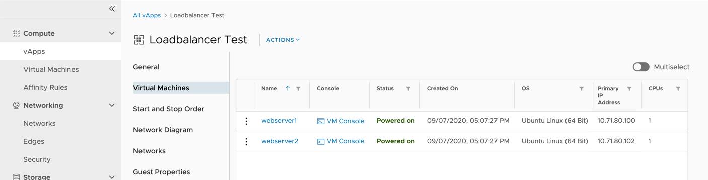 """In Virtual Datacenter wurden zwei VMs als Webserver konfiguriert und mit Startseiten ausgestattet, die zur Identifikation entweder """"webserver1"""" oder """"webserver2"""" ausgeben."""