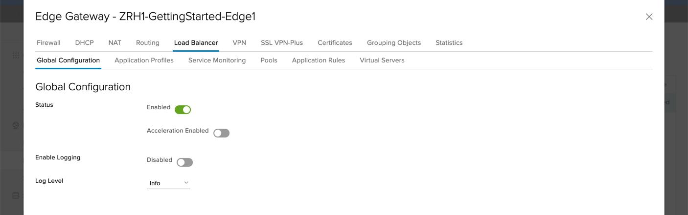 Um das Loadbalancing zwischen den beiden VMs zu konfigurieren, öffnen Sie Services in den Einstellungen des Edge Gateways und da den TabLoadbalancer.