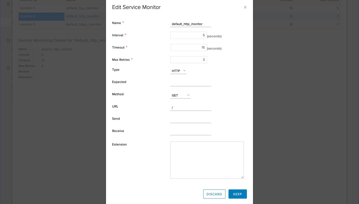Für dasService Monitoring sind im entsprechenden Tab bereits Monitors für TCP, HTTP und HTTPS konfiguriert, welche die Pool-Members lediglich auf eine gültige Antwort des entsprechenden Protokolls prüfen.