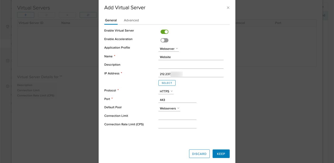 Zuletzt wird derVirtual Server erstellt, welcher der vom Internet erreichbare Knotenpunkt darstellt. Ihm wird eine öffentliche IP Addresse, ein Port und ein Protokoll zugeordnet, mit denen der Service vom Internet her erreichbar sein wird.